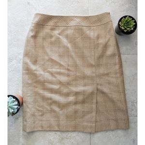 LOFT wool tan camel plaid skirt